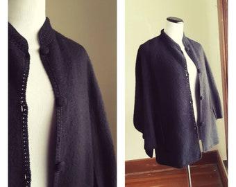 1960s Boho Alpaca cape /  made in peru / mon repos / minimal vintage wool poncho / jacket coat womens retro mod vtg