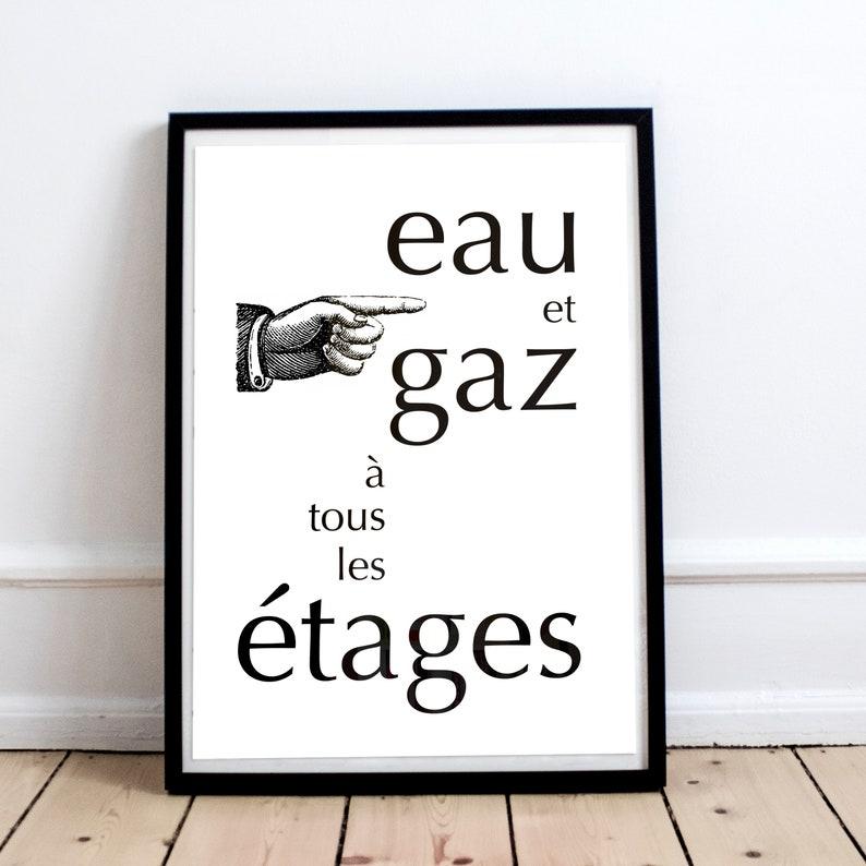 Affiche Eau Et Gaz à Tous Les étages Typo Texte Phrase Mots Etsy