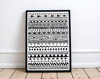 Graphic Poster Texture Tribal Texture Print Geometric Pattern Hand drawn Pen Graphic Printable Art Design Decoration Room