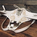 Lace and Corset Strap On Harness - White VEGAN leather