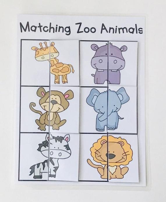 Matching Wild Animals Puzzle Learning Game Educational Etsy