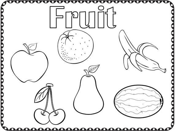 - Coloring Pages Fruit And Vegetables Kindergarten Preschool Etsy