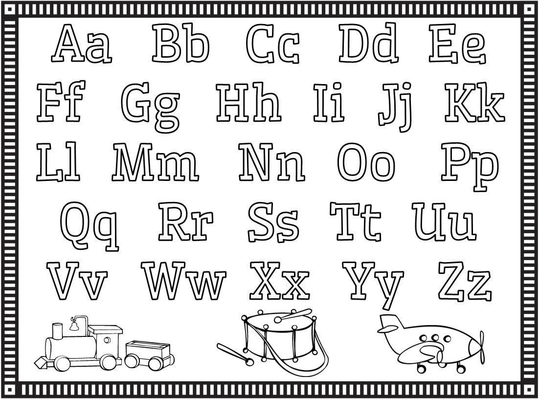 Coloring Pages Alphabet Numbers Shapes Preschool Kindergarten ...