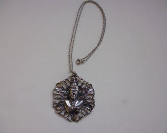 Egyptian Revival 1970's Silver Metal Pendant on Chain Gift Birthday