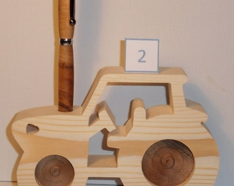 PENCIL holder or wall decor - modern tractor wooden 2