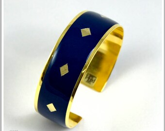 2 cm gold plated 24 k plain Pamela blue Cuff Bracelet