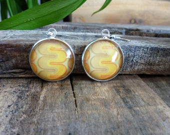 Earrings 20mm - yellow and green retro pattern