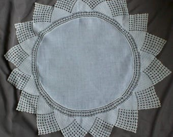 Linen and Lace Round Table Topper. 27 inches across.