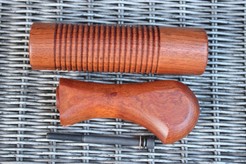 Woodstock & Forearm fit MOSSBERG 590 Shockwave 12 GA Birdshead Forend  Unstained PADAUK Wood