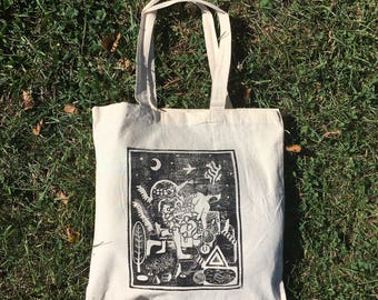 Totebag with 8x10 linocut print