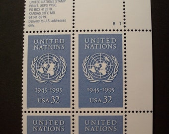 The United Nations 1945-1995**32 Cent U.S. Plate Block 4 Stamps*Scott #2974*Mint(MNH)
