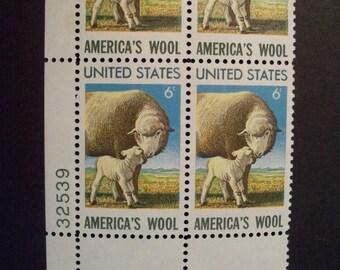 America's Wool Industry**U.S. Postage Stamp Plate Block w/Margins*Mint (MNH) Scott #1423 1971 Vintage