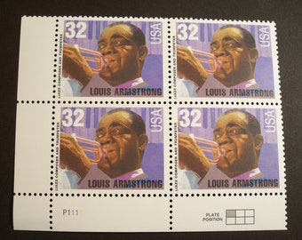 Legends of American Music**Louis Armstrong** Plate Block of4**U.S. 32 Cent Stamp #2982 1995 MNH*Choice!