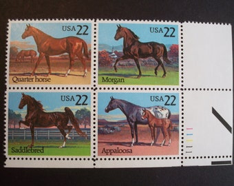 Quarter Horses *1985 U.S. Postage Stamp Plate Block* Scott #2155-58* Mint(MNH)*Only One IN Stock!