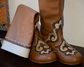 Women Leather Boots, Western Boots, Women's Brown Boot, Mens Leather Boots, Gift for Friend, Mens Leather Shoes, Lined Wood Heels Boots