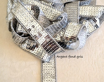 """Ribbon """"Silver Grey on a grey background"""" Sequin Vanessa Bruno, 2cm or 4cm, Paillette"""