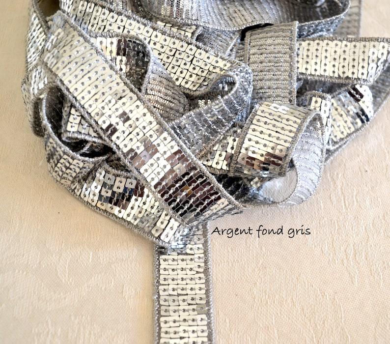 2cm or 4cm Paillette Ribbon Grey Silver on grey background Sequin Vanessa Bruno