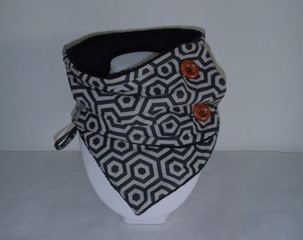 "Scarf / neckwarmer winter man or woman ""Trendy and Chic"" with graphic black and gray"