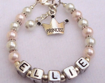 Baby Girls Bracelet Child Name Personalized Princess Charm Pearl  Jewelry and Toddler Teen (Made to Order)