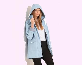 Charcoal Fashion Women/'s Navy Blue Water Resistant Rubber Rain Coat