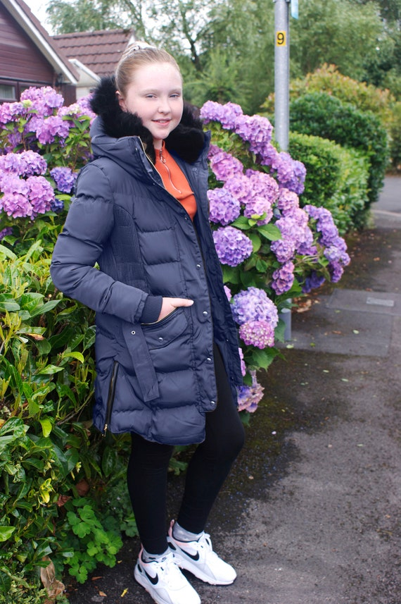 Charcoal Fashion Girls Back to School Puffa Jacket with Pink Fur CFW1901-BLACK