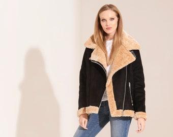 Charcoal Fashion Women's Oversize Shearling Aviator Biker Jacket (08JW20-AVIATOR-B)
