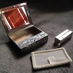 800 Silver Antique Lipstick Compact Case