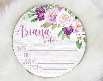 Birth Stat Sign, Round Wood Birth Stat Sign, Violet Floral Birth Stat Sign, Purple Violet Decor, Personalized Birth Stat Sign, Newborn Gift