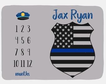 Police blanket-cop blanket-sheriff blanket-minky blanket-baby shower gift-birthday gift-flag blanket-blue line gifts-back the blue gift
