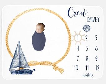 Personalized Baby Blankie Baby Boy Nautical Sailboat Baby Boy Blanket Baby Boy Blanket Baby Boy Milestone Blanket Month Baby Blanket
