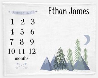 Adventure Awaits Baby Milestone Blanket, Forest Mountains Milestone Blanket, Personalized Baby Blanket, Month Baby Blanket, Baby Boy Blanket