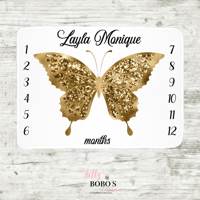 Personalized Baby Blankie Butterfly Baby Milestone Blanket Pink and Gold Butterfly Baby Blanket Baby Girl Blanket Monthly Baby Blanket