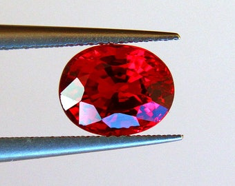 Orange Sapphire loose stone 1.18ct Faceted oval Beryllium treated Sapphire loose gemstone Orange Red Songea Sapphire from Tanzania