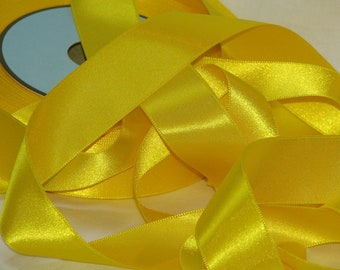 Yellow satin ribbon Bright width 25 mm, Coupon of 1.90 meters - lot 153