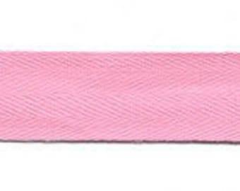 100% Cotton Pink Sergé Ribbon, 25 mm width, 1.50 metre coupon - lot 186