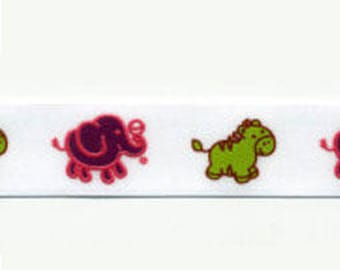 Fancy pony Elephants green Satin Ribbon and plum by the yard