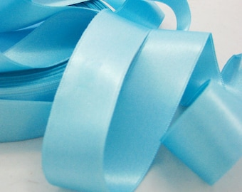 Lagoon blue satin ribbon by the yard