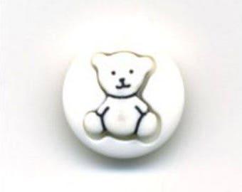 Button round white Teddy bear