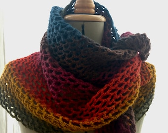 Handmade crochet wick handmade rainbow blue pink orange yellow multicolored green
