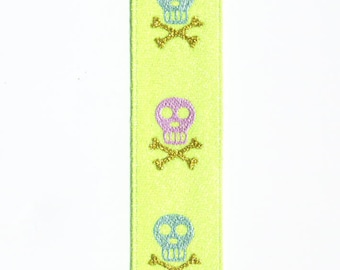 Neo green ribbon glittered skulls, pirate satin - by 3 meters