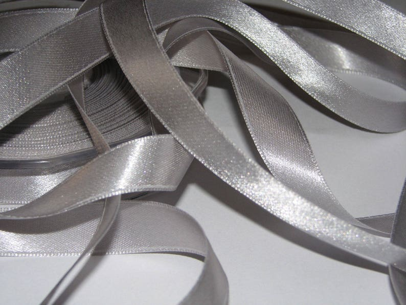 Ribbon satin silver 15 mm wide  roll 25 m reel image 0