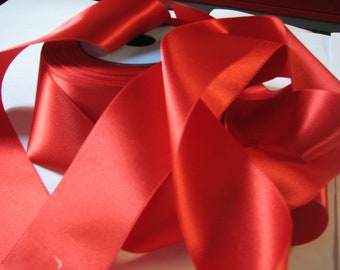 Red satin ribbon width 38 mm, Coupon of 7.60 meters - lot 133