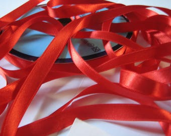Red satin ribbon fine width 3 mm, Coupon of 8.80 meters - lot 126