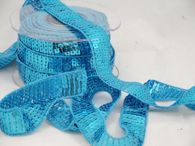 Blue glitter braid sequins Ribbon width 20 mm-coupon of 1.90 image 0