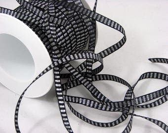 Ribbon 6 mm black and silver by the yard