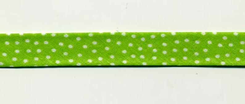 Bias green small white polka dots in 3 metre lengths 100/% cotton