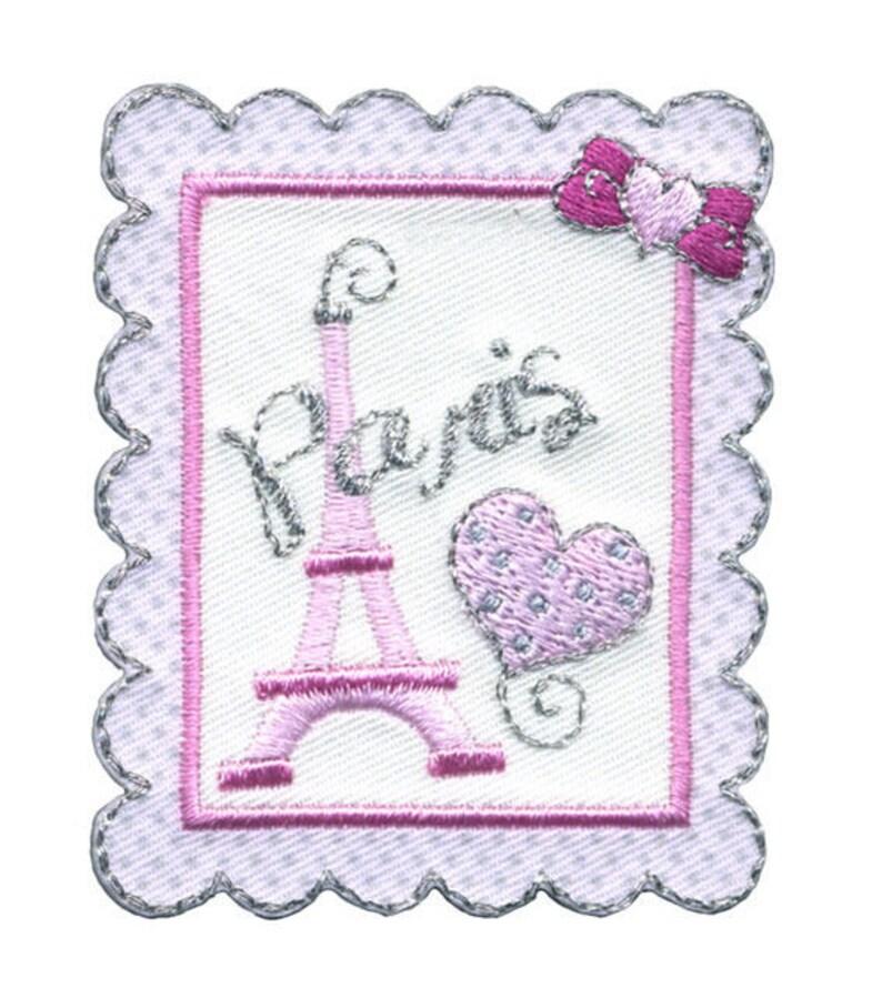 patch fusible romantic Paris pink image 0