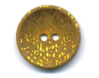 Saffron yellow fancy reflection metal 27 mm button