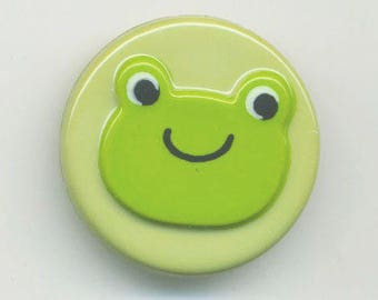 Fancy Green Frog button