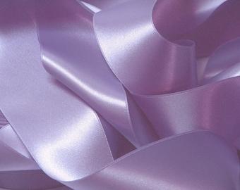 Mauve Violet satin ribbon width 25 mm, 1.40 meter coupon - lot 176